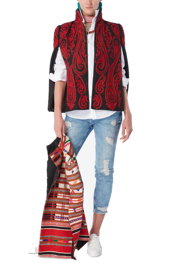 Nadya Shah - Red Paisley Capelet