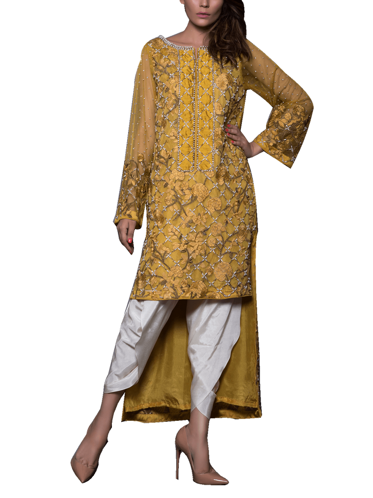 Mahgul - Yellow Hand Embellished Net Shirt With Tulip Pants