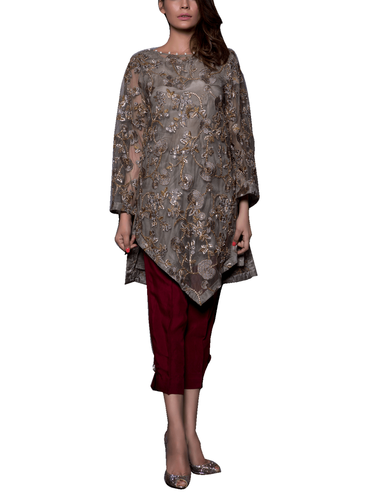 Mahgul - Grey Hand Embellished Net Shirt With Straight Pants