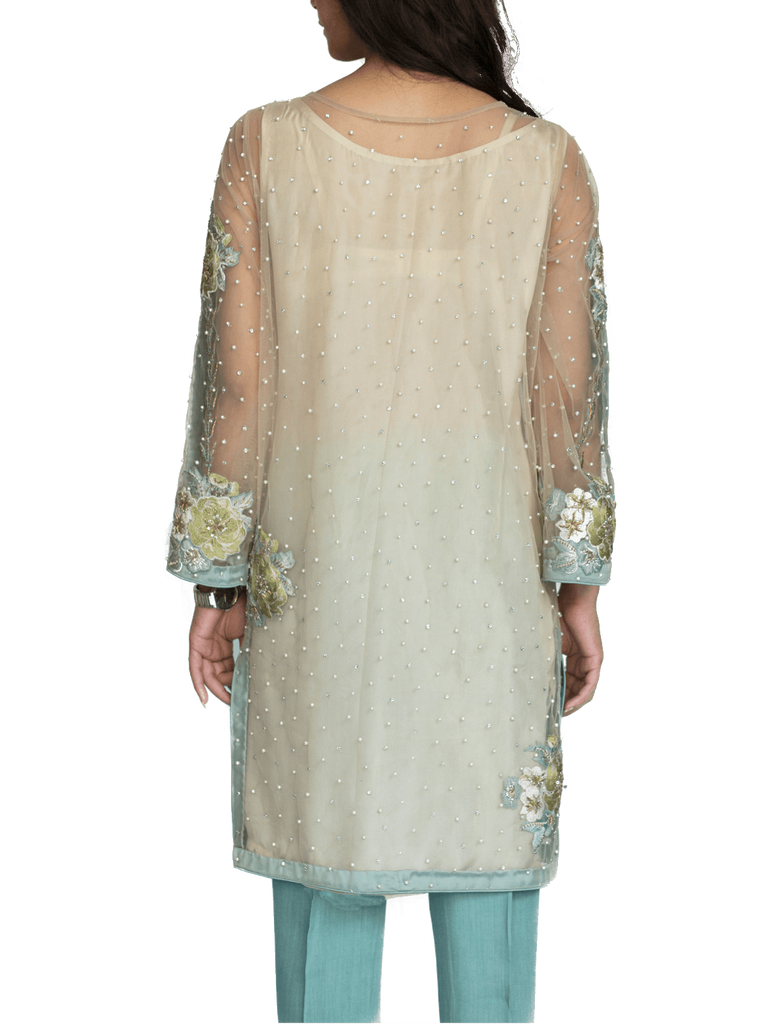 Mahgul - Turquoise Embroidered Net Shirt With Straight Pants