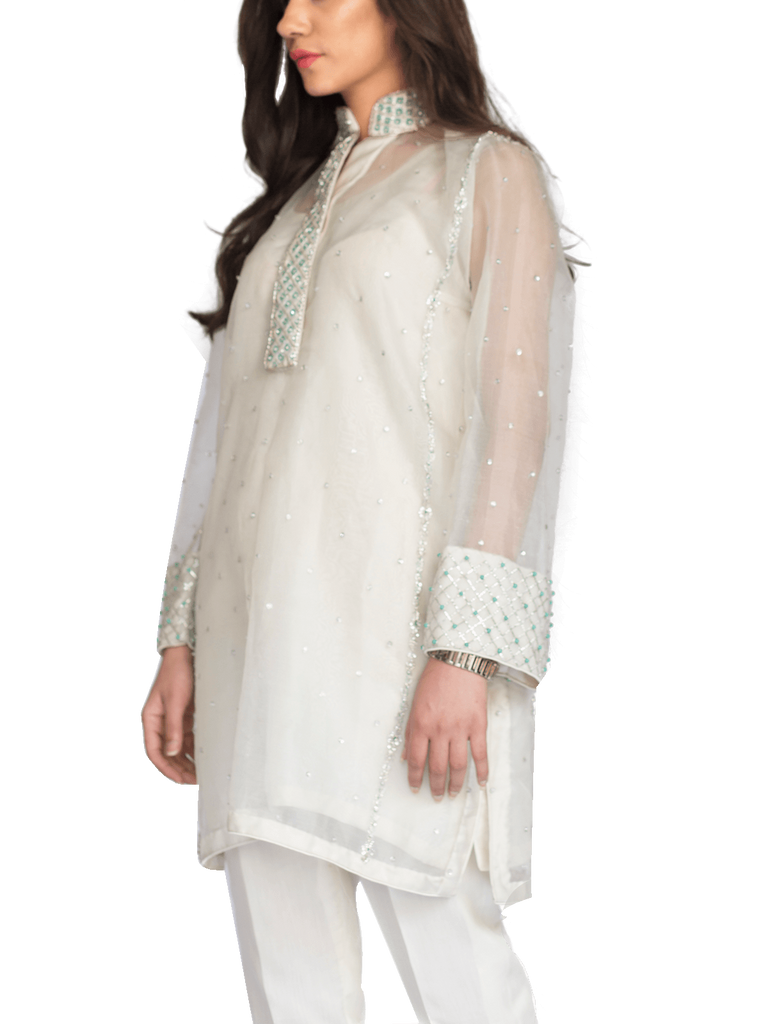 Mahgul - White Hand Embellished Organza Shirt With Straight Pants