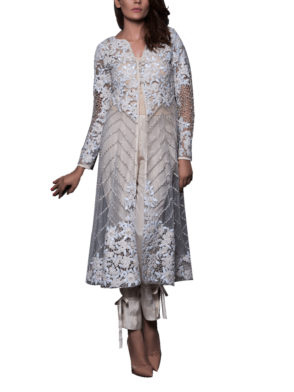 Mahgul - White Hand Embellished Net Shirt With Straight Pants