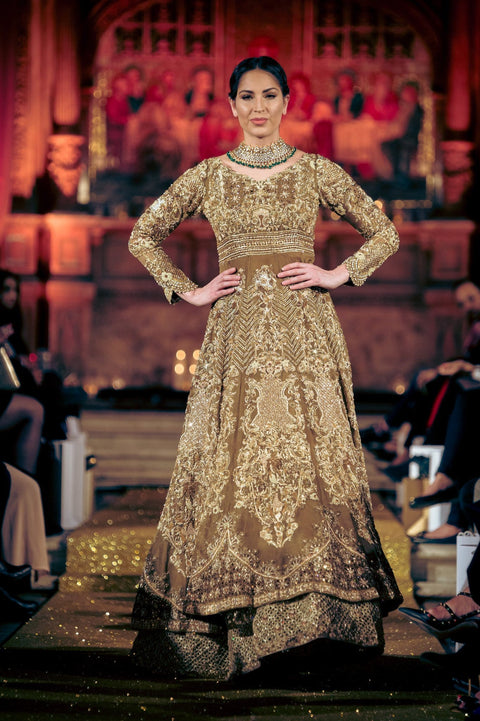 Rani Emaan - Organza & Tissue Pishwaas With Trail Lehnga - The Olea