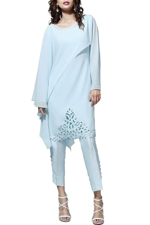 Natasha Kamal - Ora Chiffon & Georgette Tunic With Raw Silk Pants & Dupatta