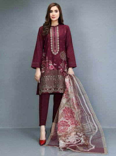 Limelight - Dark Maroon Embroidered Lawn Suit - 2 PC - P1339SU