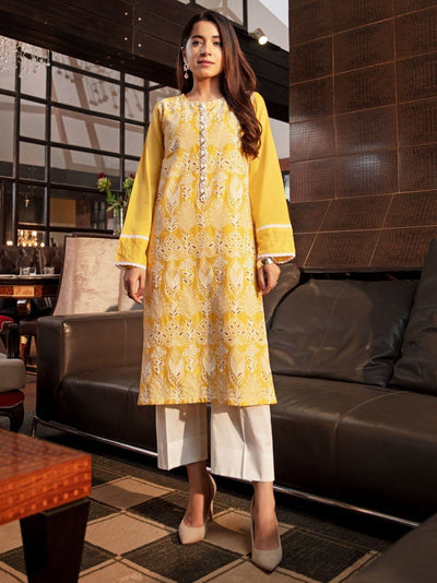 Limelight - Mustard Embroidered Lawn Shirt - 1 PC - P3017