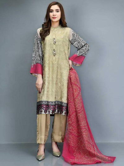 Limelight - Beige Embroidered Silk Suit - P3113