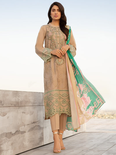 Limelight - Beige Embroidered Lawn Shiffly Suit - 2 PC - P3336