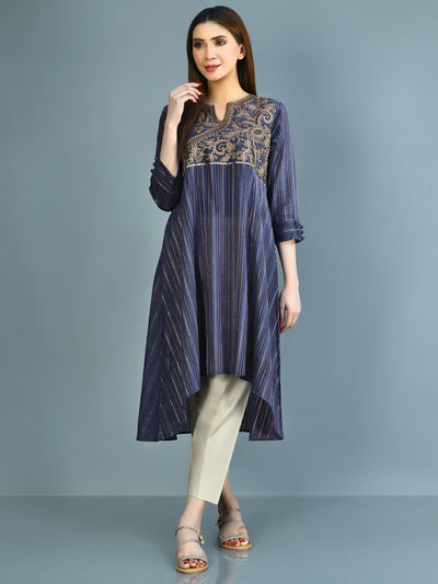 Limelight - Blue Embroidered Khaadi Shirt - 1 PC - P3413