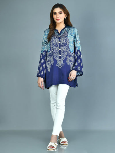Limelight - Blue Printed Silk Kurti - 1 PC - P3527
