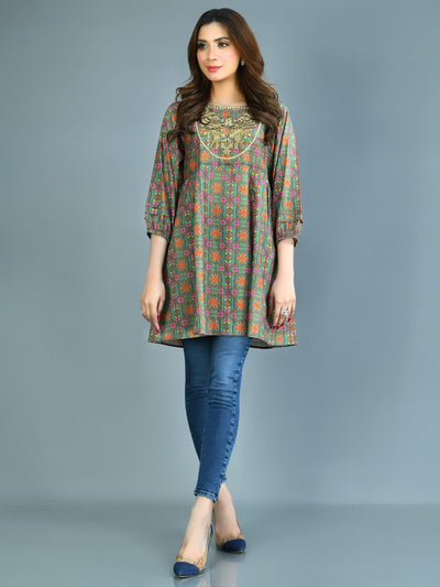 Limelight - Green Embroidered Lawn Kurti - 1 PC - P3549TP