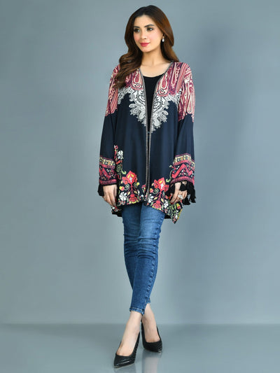 Limelight - Black Printed Arabic Lawn Cardigan - 1 PC - P3572CR