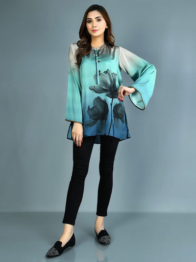 Limelight - Aqua Printed Silk Kurti - 1 PC - P3575TP