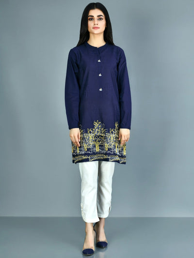 Limelight - Denim Blue Embroidered Lawn Kurti - 1 PC - P3579DR