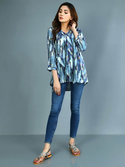 Limelight - Blue Printed Lawn Kurti - 1 PC - P3588TP