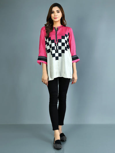 Limelight - Pink Printed Thai Silk Kurti - 1 PC - P3590TP