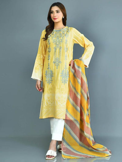 Limelight - Yellow Embroidered Jacquard Suit - 2 PC - P3707SU