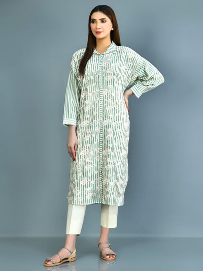 Limelight - Aqua Embroidered Khaadi Shirt - 1 PC - P3910SH