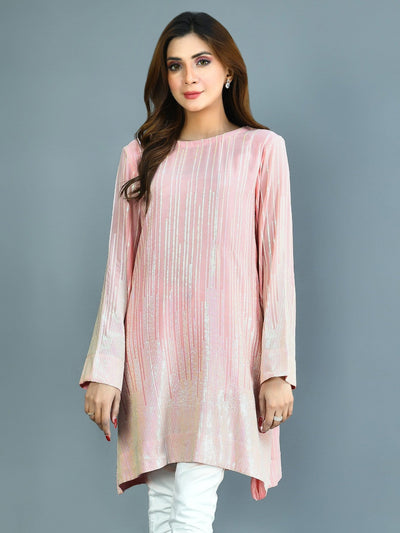 Limelight - P.Pink Sequined Chiffon Dress - 1 PC - P3995SH