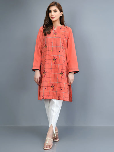 Limelight - Orange Embroidered Slub Khaddar Shirt - 1 PC - P4239SH
