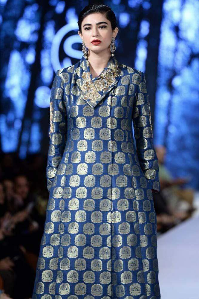Sanam Chaudhri - OFF THE RUNWAY - Azul Blue Banarsi Hand Worked Long Pea Coat With Pants