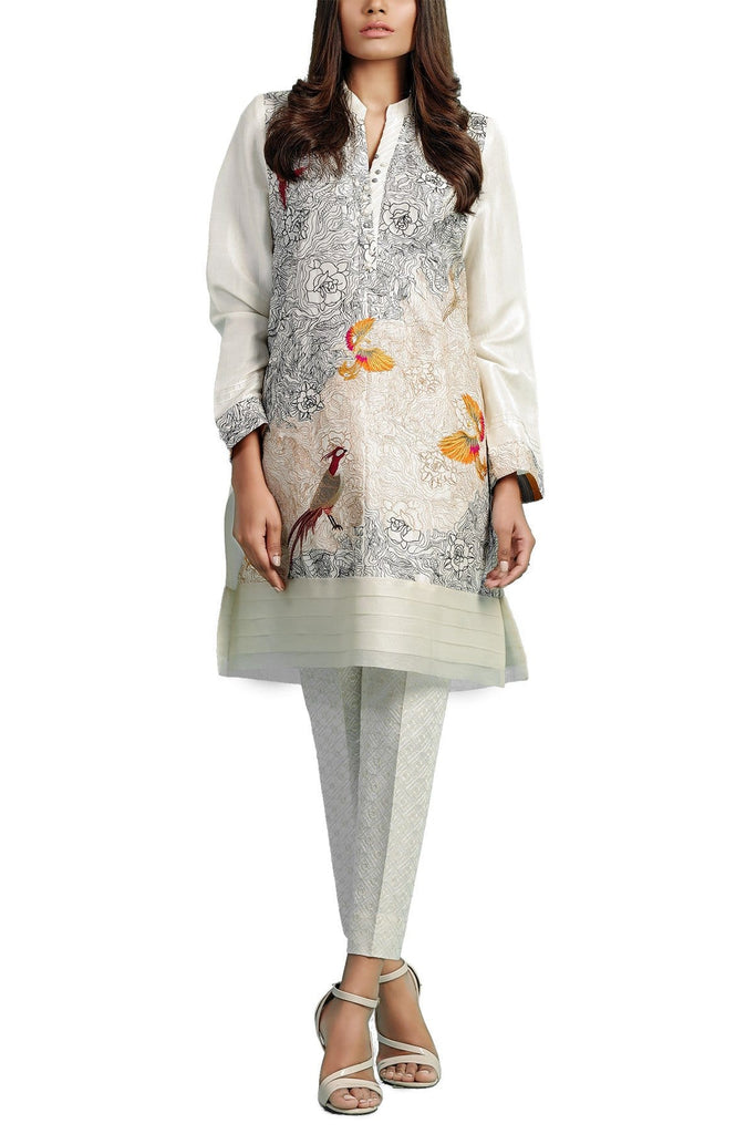 Sania Maskatiya - Off White Raw Silk Embroidered Shirt