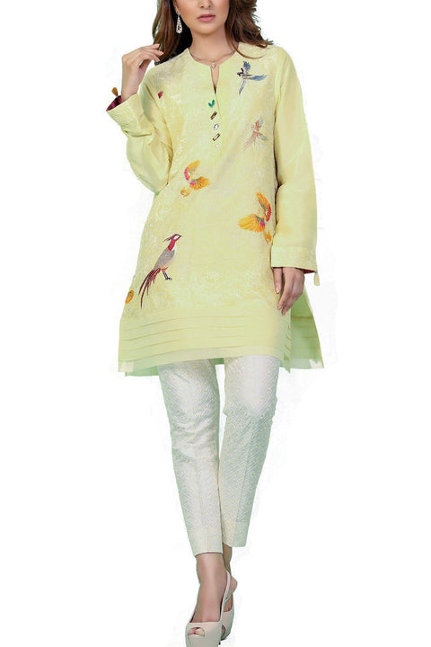 Sania Maskatiya - Embroidered Lime Raw Silk Shirt