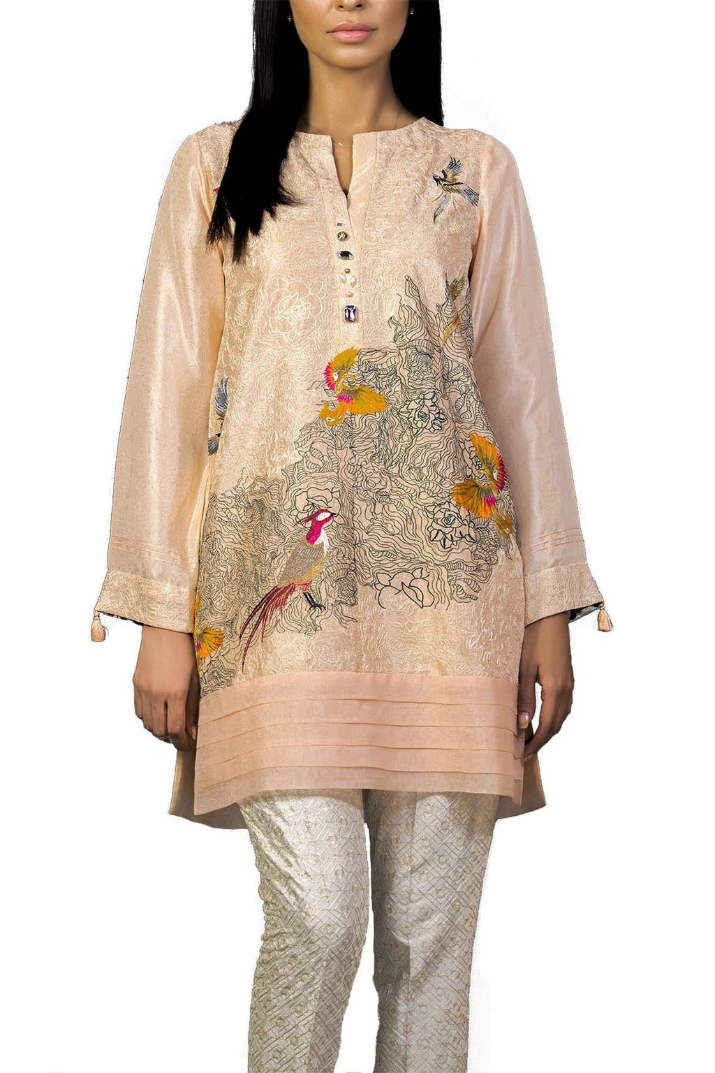 Sania Maskatiya - Pink Raw Silk Embroidered Shirt