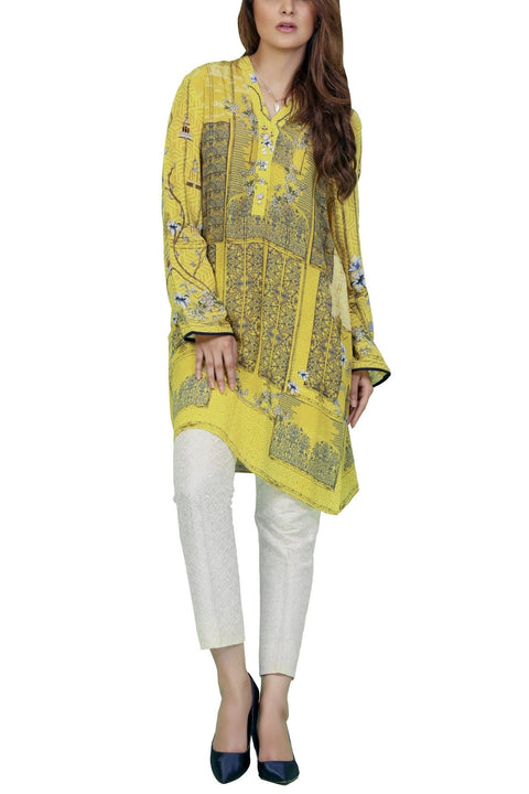 Sania Maskatiya - Yellow Digitally Printed Crepe Shirt