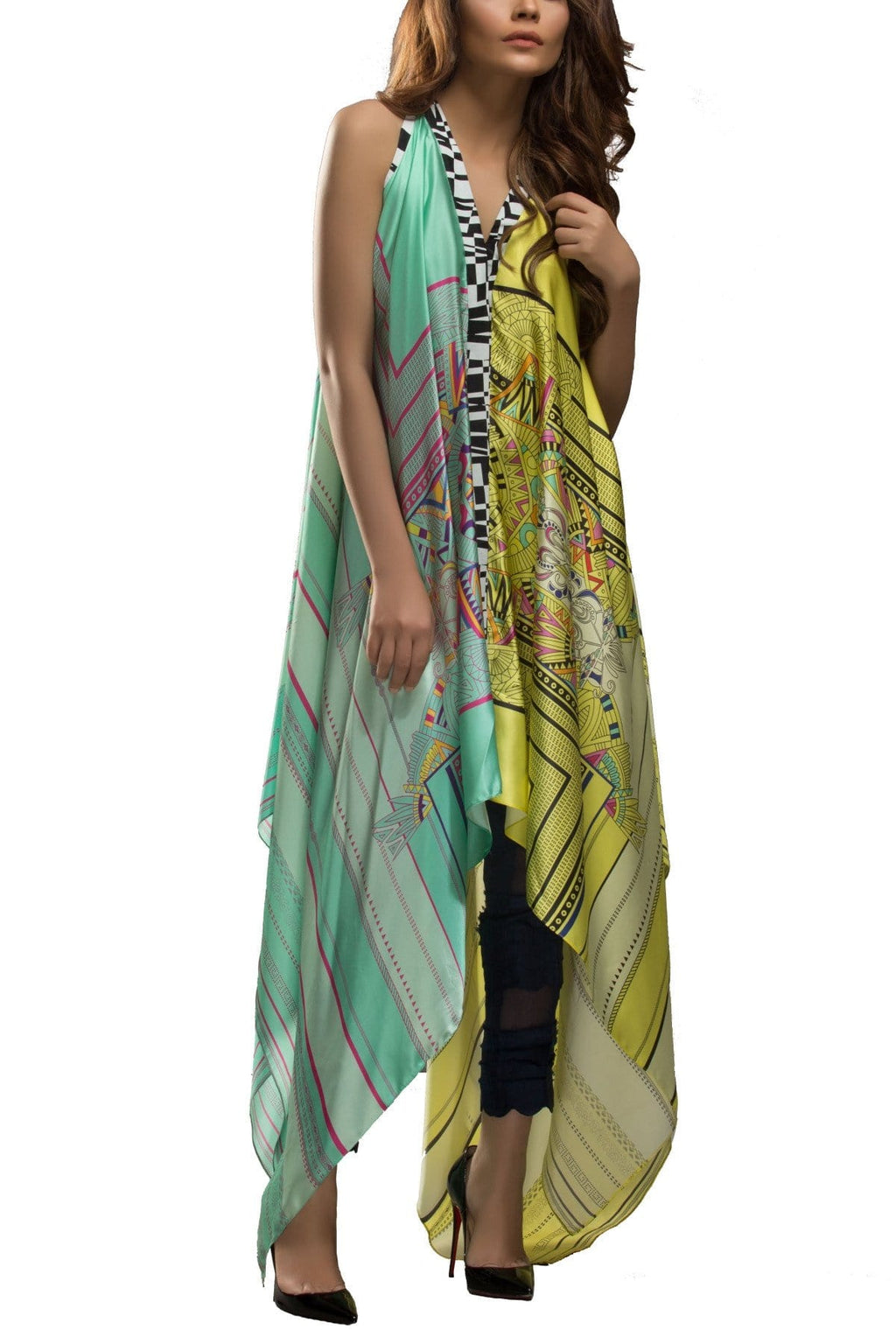 Sania Maskatiya - Digitally Printed Charmeuse Floor Length Shirt
