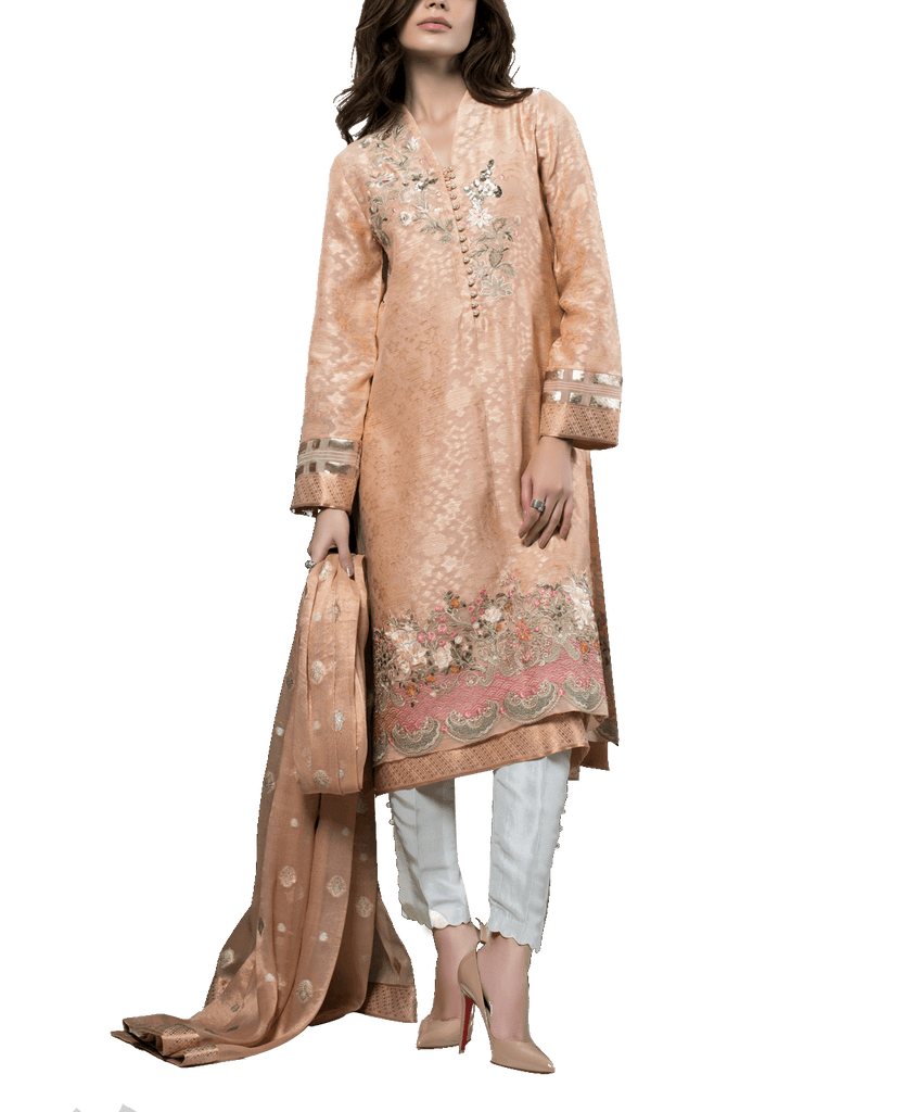 Sania Maskatiya - Organza Self Printed Shirt with Floral Embroidery