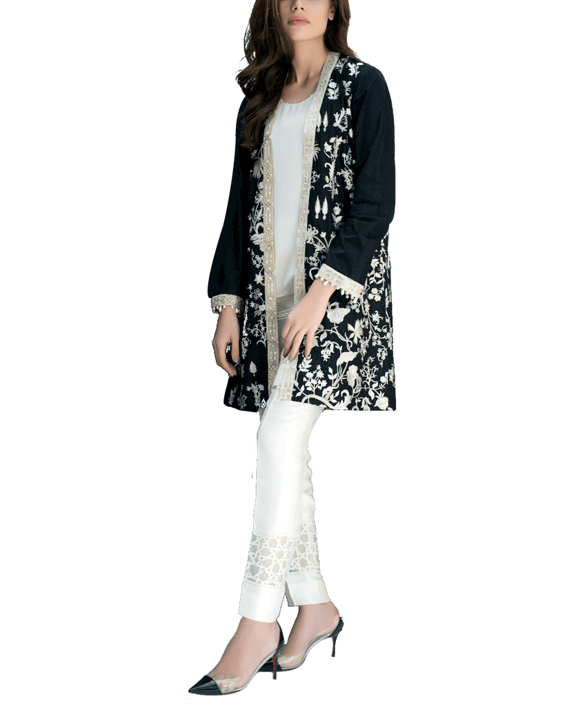 Sania Maskatiya - Embroidered Black Jamawar Coat