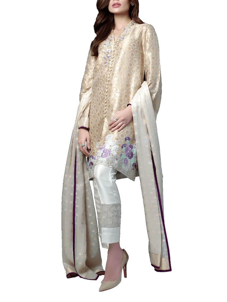 Sania Maskatiya - Jamawar Embroidered Shirt
