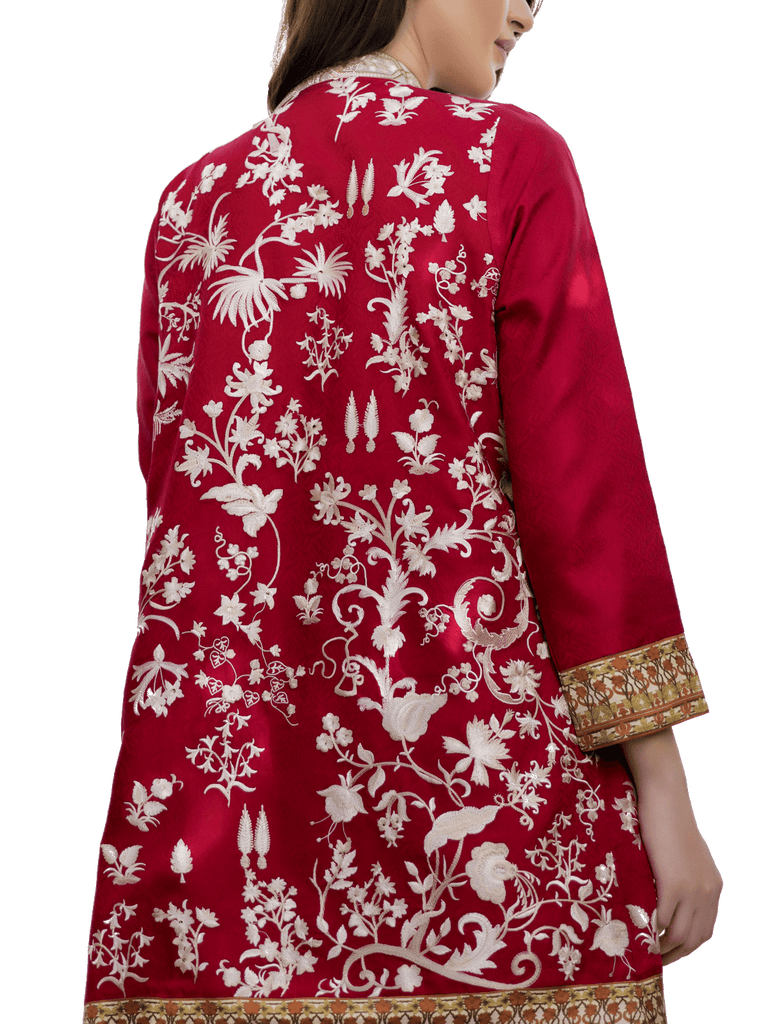 Sania Maskatiya - Embroidered Red Jamawar Coat