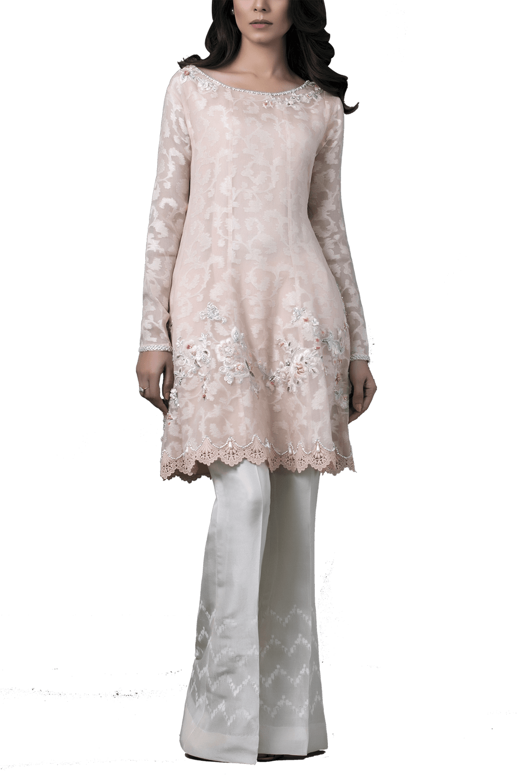 Sania Maskatiya - Organza Woven Peplum Shirt With Raw Silk Palazzo