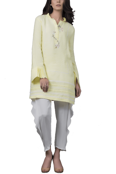 Sania Maskatiya - Self Printed Cotton Shirt With Raw Silk Shalwar
