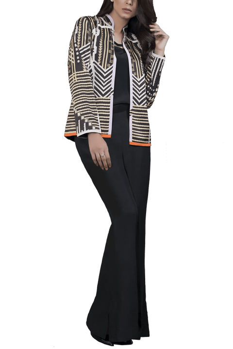Sania Maskatiya - Charmeuse Digitally Printed Jacket With Inner & Raw Silk Palazzo