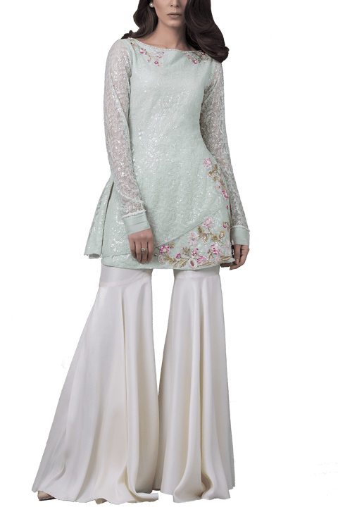 Sania Maskatiya - Indian Net Embroidered Peplum Shirt With Raw Silk Gharara