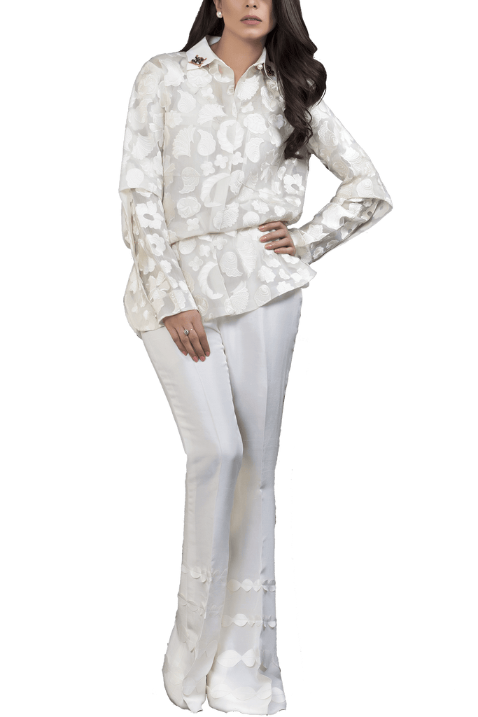 Sania Maskatiya - Organza Embroidered Shirt With Raw Silk Palazzo
