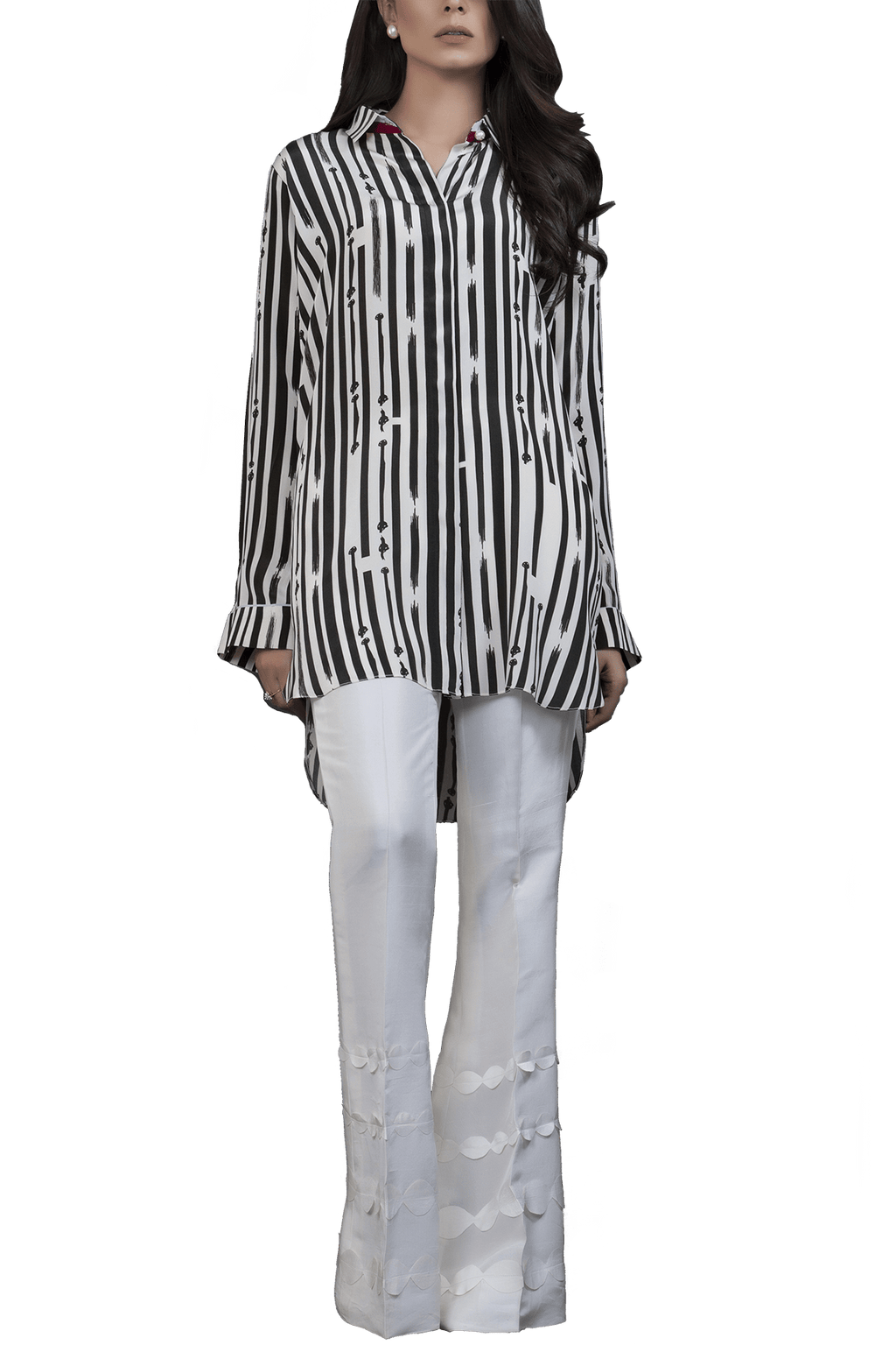 Sania Maskatiya - Black & White Crepe Shirt With Raw Silk Palazzo