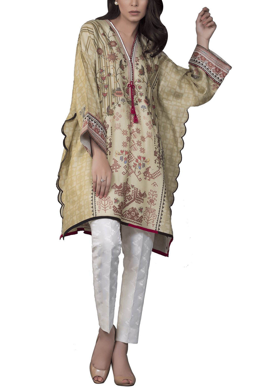 Sania Maskatiya - Cotton Net Digitally Printed Poncho With Raw Silk Pants