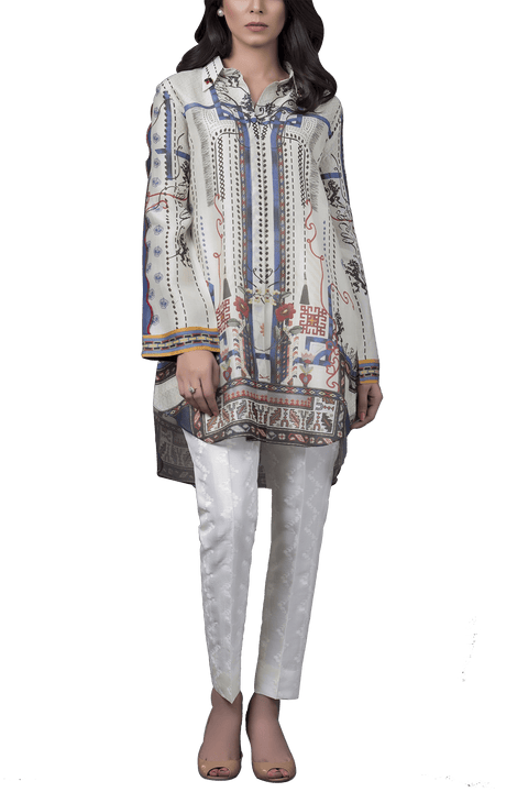 Sania Maskatiya - Digitally Printed Cotton Net Shirt With Raw Silk Pants