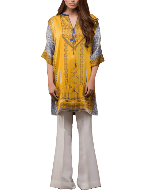 Sania Maskatiya - Digitally Printed Yellow Charmeuse Shirt With Pants