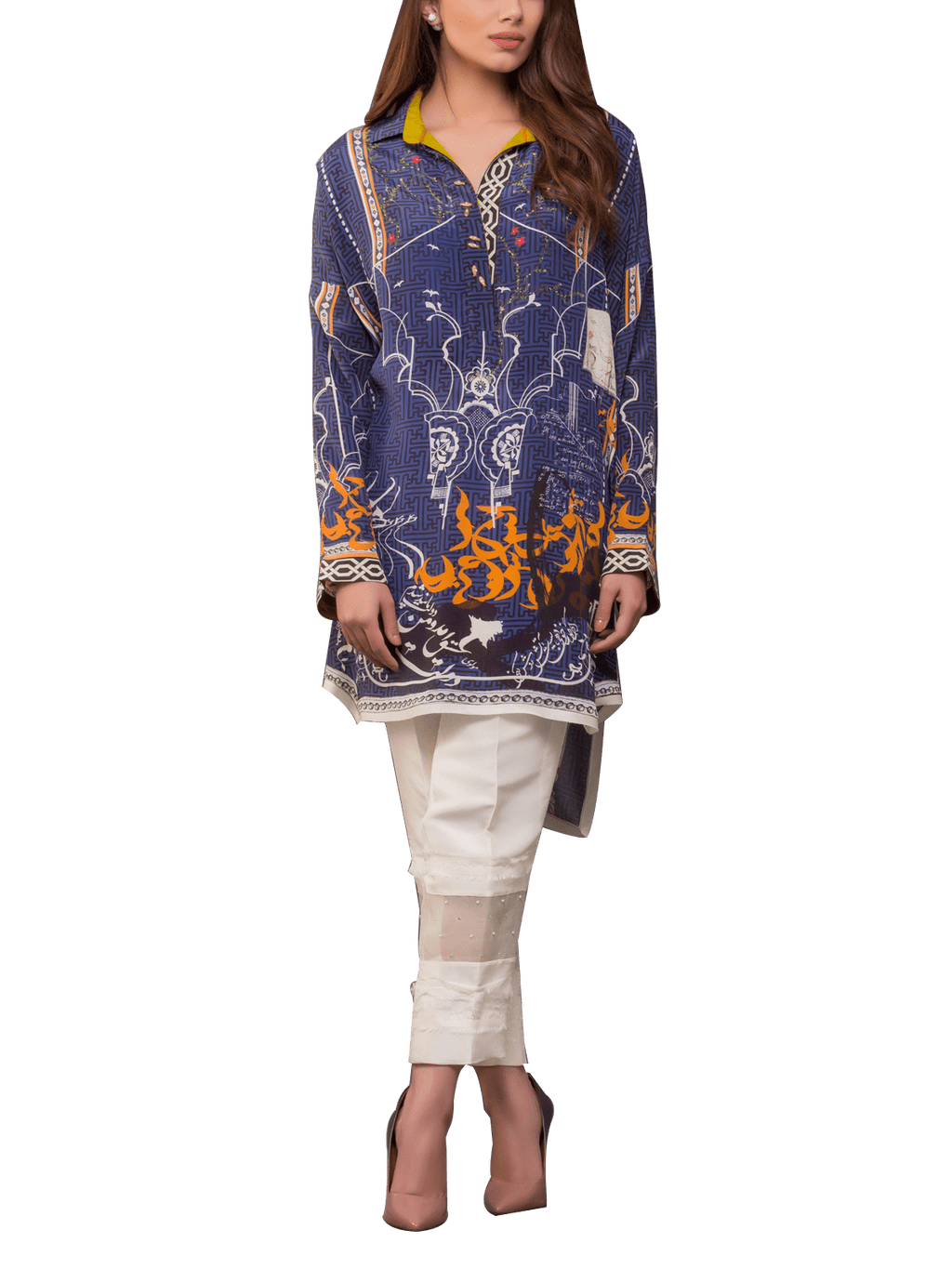 Sania Maskatiya - Digitally Printed Alpha Numeric Print Charmeuse Shirt With Pants