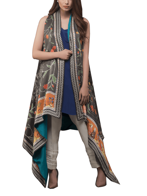 Sania Maskatiya - Floor Length Digitally Printed Cape With Pants