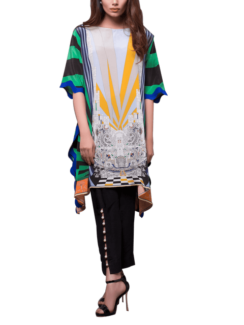 Sania Maskatiya - Digitally Printed Boat-Neck Charmeuse Shirt With Pants