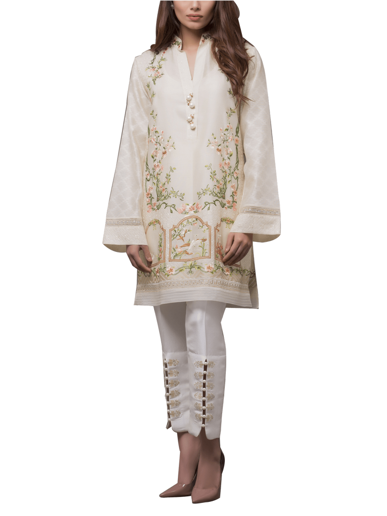 Sania Maskatiya - Cotton Net Floral Embroidered Shirt With Pants