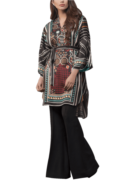 Sania Maskatiya - Digitally Printed Charmeuse Shirt With Raw Silk Palazzo