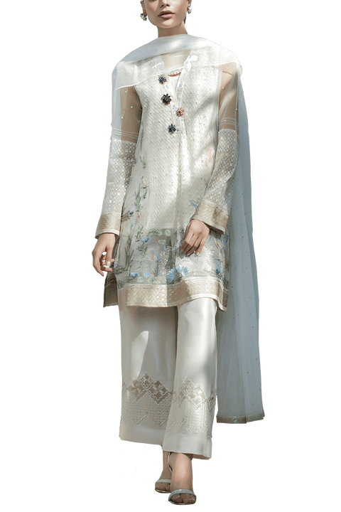 Sania Maskatiya - Indian Net Floral Embroidered Shirt With Pants & Net Duppata