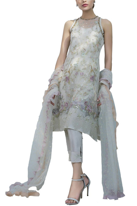 Sania Maskatiya - Indian Net Embroidered Hand Worked Shirt With Raw Silk Pants & Net Duppata